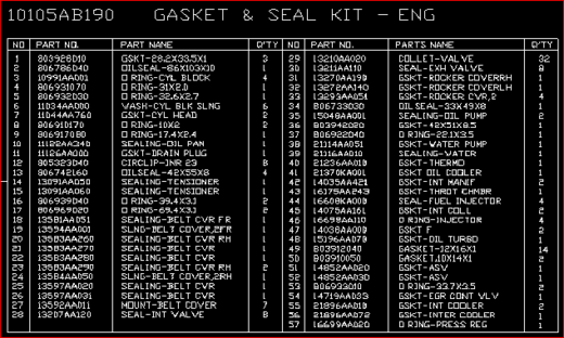 ENGINE GASKET SET 2008 >